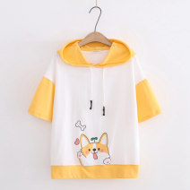 Sweater / sweater Summer 2021 Yellow, blue, pink Average size Short sleeve routine Socket singleton  routine Hood easy Sweet routine Cartoon animation 18-24 years old 51% (inclusive) - 70% (inclusive) cotton Printing, splicing cotton solar system