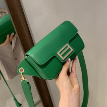 Bag The single shoulder bag PU Small square bag Wei Wei Black, white, green, yellow brand new Japan and South Korea Small leisure time soft Cover type no Solid color Single root One shoulder cross nothing youth Horizontal square Belt decoration polyester fiber mobile phone bag soft surface