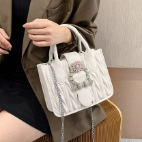 Bag The single shoulder bag PU Small square bag Wei Wei brand new Japan and South Korea Small leisure time soft Magnetic buckle no Solid color Single root One shoulder cross carry nothing youth Horizontal square Rhombic grid Soft handle polyester fiber mobile phone bag soft surface