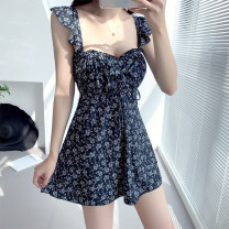 one piece  Han Siwu 0008 M,L,XL black Skirt one piece With chest pad without steel support Nylon, spandex, polyester, others female Sleeveless Casual swimsuit