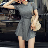 one piece  special counter M,L,XL,XXL dark gray Skirt one piece With chest pad without steel support Nylon, spandex, polyester, others female Short sleeve Casual swimsuit
