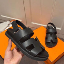 Sandals Other / other Buckles Cattle hide (except cattle suede) Beach shoes summer daily Retro Barefoot TPU increase Muffin bottom Solid color Youth (18-40 years old) Adhesive shoes Summer 2021 Sheepskin Shaving