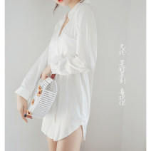 Nightdress Other / other White (adjustable sleeve, long and short), short sleeve, black (adjustable sleeve, long and short) S,M,L sexy Long sleeves Leisure home Middle-skirt autumn Solid color youth Shirt collar Polyester (polyester) Button decoration More than 95% Iced silk D2681