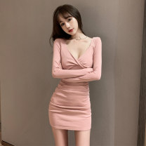Dress Winter 2020 Black, pink S code, M code, l code Short skirt singleton  Long sleeves commute V-neck High waist Solid color Socket One pace skirt routine Others 18-24 years old Type X Other / other Patch, splice 71% (inclusive) - 80% (inclusive) cotton