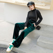 Casual pants XS,S,M,L,XL,2XL,3XL Spring 2021 trousers Straight pants High waist commute routine 25-29 years old Verdi Wire cloth Retro pocket polyester fiber