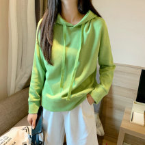 Sweater / sweater Autumn of 2019 White, black, red, green Average size Long sleeves have cash less than that is registered in the accounts Socket singleton  routine Hood easy street routine Solid color 18-24 years old 91% (inclusive) - 95% (inclusive) cotton Resin fixation Sports & Leisure