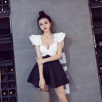 Dress Spring 2021 Black and white S,M,L Miniskirt singleton  Sleeveless street square neck High waist Solid color zipper Big swing Flying sleeve Type X Brassiere cotton Europe and America