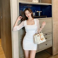 Dress Summer 2021 White, black S, M Short skirt singleton  elbow sleeve commute square neck High waist Decor zipper other puff sleeve Breast wrapping 25-29 years old Type X Pleating, pleating, stitching, mesh, lace 91% (inclusive) - 95% (inclusive) other cotton