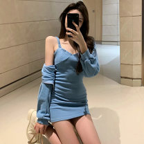 Dress Autumn 2020 Black, blue, gray S, M Short skirt Two piece set Long sleeves commute Crew neck High waist Solid color Socket A-line skirt routine camisole 18-24 years old Type X lady Pleating, pleating, Auricularia auricula, stitching, zipper 91% (inclusive) - 95% (inclusive) polyester fiber
