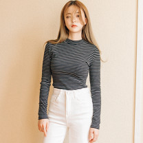 T-shirt Black, white S,M,L,XL,2XL Autumn of 2019 Long sleeves Crew neck Self cultivation Regular routine commute cotton 86% (inclusive) -95% (inclusive) 18-24 years old Korean version youth Thin horizontal stripe