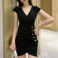 Dress Autumn 2020 Black, red S,M,L Short skirt singleton  Short sleeve commute V-neck High waist Solid color Irregular skirt Other / other Korean version 95013# polyester fiber