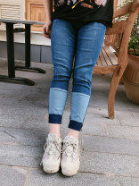 Women's large Spring of 2019 blue 32,34,36,38,40,42 trousers commute Straight cylinder moderate Korean version Polyester, cotton, others Three dimensional cutting Addictive 18-24 years old zipper trousers