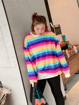 Women's large Spring 2020 Rainbow color Large XL, large XXL, large XXL T-shirt singleton  commute easy moderate Socket Long sleeves stripe Korean version Crew neck routine Cotton, others Three dimensional cutting routine Addictive 18-24 years old