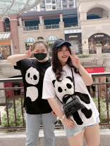 Women's large Spring 2020 Black, white Large XL, large XXL, large XXL, large XXXXL, large XXXXL T-shirt singleton  commute easy moderate Socket Short sleeve Animal design Korean version have cash less than that is registered in the accounts Cotton, others Three dimensional cutting Addictive
