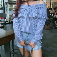Women's large Spring 2017 blue Large XL, large XXL, large XXL, large XXXXL, large XXXXL shirt singleton  Sweet easy moderate Socket Long sleeves stripe One word collar routine cotton Three dimensional cutting other Addictive 18-24 years old Bandage bow college