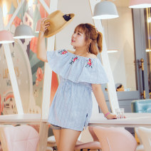 Women's large Summer 2017 sky blue Large XL, large XXL, large XXL, large XXXXL, large XXXXL shirt singleton  commute Self cultivation moderate Socket Sleeveless stripe Korean version One word collar routine Polyester, others Three dimensional cutting Addictive 18-24 years old Bandage Lotus leaf edge