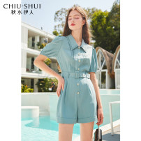 Jumpsuit / pants 96% and above shorts other High waist blue S M L XL routine Summer 2021 Straight cylinder 61207DS18A579 thinking of an old acquaintance on seeing a familiar scene Pleated button Pure e-commerce (online only)