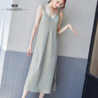 Dress Summer 2020 Light green apricot S M L XL XXL XXXL longuette singleton  Sleeveless commute V-neck High waist Solid color Socket A-line skirt other camisole 40-49 years old Can Sheng Korean version 81% (inclusive) - 90% (inclusive) polyester fiber Pure e-commerce (online only)