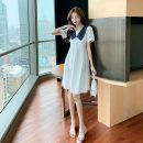 Dress Summer 2021 Dark blue, white S,M,L,XL Middle-skirt singleton  Short sleeve commute Admiral middle-waisted other Socket A-line skirt routine Others 18-24 years old Korean version Frenulum MGK145 71% (inclusive) - 80% (inclusive) other cotton