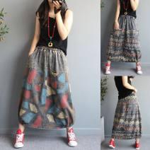 skirt Autumn 2020 Average size Geometry, letters Mid length dress commute Natural waist Flower bud skirt Denim