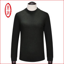 T-shirt / sweater Business gentleman 170,175,180,185,190 routine Socket Crew neck Long sleeves autumn Straight cylinder 2017 Wool 100% business affairs Business Casual middle age routine Solid color other Fine wool (16 and 14 stitches) Pure wool (95% or more) Rib bottom pendulum