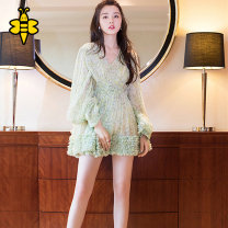 Dress Spring 2021 green 1=XS,2=S,3=M,4=L,5=XL Mid length dress Long sleeves Governor printing