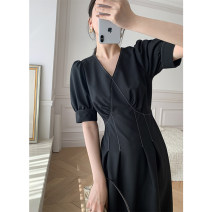 Dress Summer 2021 S,M,L Mid length dress singleton  Short sleeve commute V-neck High waist Solid color Socket A-line skirt bishop sleeve Others 25-29 years old Type X Mona original homemade women's wear Retro More than 95% other polyester fiber