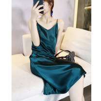 Dress Summer 2020 Dark green, champagne, sapphire, caramel, light pink, grayish blue S,M,L,XL,2XL Middle-skirt singleton  Sleeveless commute V-neck Elastic waist Solid color Socket A-line skirt camisole Type A Simplicity backless LQ6048 other Cellulose acetate