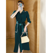 Dress Spring 2021 blackish green S,M,L,XL,2XL Mid length dress singleton  Long sleeves commute Polo collar High waist Solid color Single breasted Big swing routine Others Type H WWOUHHOVI / Behind the house lady Pocket, lace up, button LQ6102 Cellulose acetate