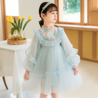 Dress Blue, pink female Other / other 110cm,120cm,130cm,140cm,150cm Other 100% spring and autumn Korean version Long sleeves Broken flowers other Fluffy skirt Three, four, five, six, seven, eight, nine Chinese Mainland