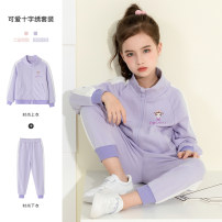 suit Other / other Purple, pink 110cm,120cm,130cm,140cm,150cm female spring and autumn leisure time Long sleeve + pants 2 pieces routine There are models in the real shooting Zipper shirt nothing other other T22071 Class B Other 100% Three, four, five, six, seven, eight, nine, ten Chinese Mainland