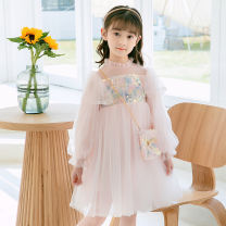 Dress Apricot, pink female Other / other 110cm,120cm,130cm,140cm,150cm Other 100% spring and autumn Korean version Long sleeves Broken flowers other A-line skirt Class B Three, four, five, six, seven, eight, nine Chinese Mainland