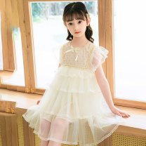 Dress Apricot, pink female Other / other 110cm,120cm,130cm,140cm,150cm Polyester 100% summer lady Short sleeve Solid color other A-line skirt T22093 Class B Three, four, five, six, seven, eight, nine Chinese Mainland