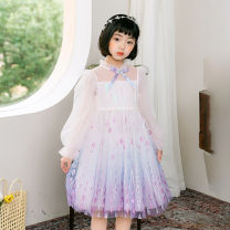 Dress Light blue, pink female Other / other 7/110,9/120,11/130,13/140,15/150 Other 100% spring and autumn Korean version Long sleeves Broken flowers other A-line skirt T22045 Three, four, five, six, seven, eight, nine Chinese Mainland