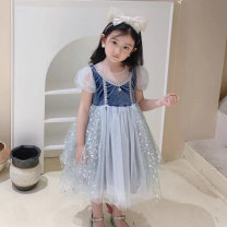 Dress Blue, pink female Other / other 5(100),7(110),9(120),11(130),13(140) Polyester 100% spring and autumn princess Short sleeve Dot polyester A-line skirt T22078 Class B Three, four, five, six, seven, eight, nine Chinese Mainland