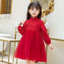 Dress female Other / other 100cm,110cm,120cm,130cm,140cm,150cm Other 100% spring and autumn Long sleeves Solid color other A-line skirt Class B Chinese Mainland