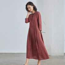 Dress Spring 2021 Crimson XS S M L XL longuette singleton  Long sleeves commute Crew neck stripe Single breasted routine 30-34 years old Q.TU literature pocket LQ2778 More than 95% hemp Flax 100% Pure e-commerce (online only)