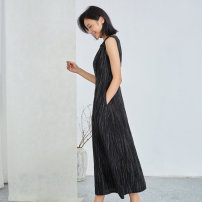 Dress Spring 2021 black XS S M L XL longuette singleton  Sleeveless commute Crew neck middle-waisted stripe Socket A-line skirt routine 25-29 years old Type A Q.TU literature fold LQ2740 More than 95% hemp Flax 100% Pure e-commerce (online only)