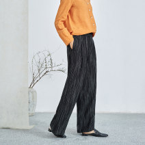 Casual pants black XS S M L XL Spring 2021 trousers Wide leg pants Natural waist commute routine 25-29 years old 96% and above K2729 Q.TU hemp literature pocket hemp Flax 100% Pure e-commerce (online only)