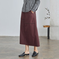 skirt Spring 2021 XS S M L XL Vermilion longuette commute High waist A-line skirt Solid color Type A 25-29 years old Q2763 More than 95% Q.TU cotton pocket literature Cotton 100% Pure e-commerce (online only)