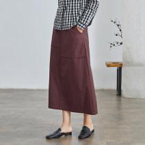 skirt Spring 2021 XS S M L XL Vermilion longuette commute High waist A-line skirt Solid color Type A 25-29 years old Q2763 More than 95% Q.TU cotton pocket literature Cotton 100% Pure e-commerce (online only)