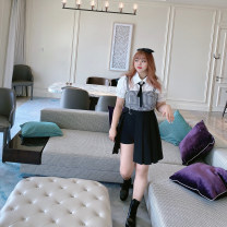 Women's large Summer 2020 Shirt, plaid sling, shorts + pleated skirt Large XL, large XXL, large XXL, large XXXXL, large L, large M shirt commute Socket Short sleeve Korean version routine R1760 MCR 18-24 years old Middle-skirt
