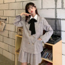 Fashion suit Winter 2020 S. M, average size White shirt piece , Jacket + pleated skirt 18-25 years old 30% and below polyester fiber