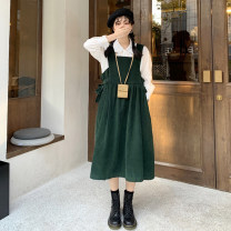 Dress Winter 2020 Dress, shirt Average size longuette singleton  Sleeveless Sweet square neck High waist Solid color Socket Big swing straps 18-24 years old Type A 30% and below other other college