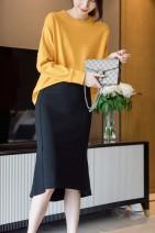 skirt Autumn 2020 S,M,L Camel, black Mid length dress Irregular Solid color