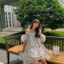 Dress Summer 2021 Dress, jacket S,M,L Short skirt singleton  Sleeveless Sweet One word collar middle-waisted Decor Socket A-line skirt puff sleeve camisole Type H Pleating More than 95% organza  polyester fiber Bohemia