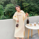 Dress Winter 2020 Light apricot yellow Xs, XXS, one size fits all Mid length dress singleton  Long sleeves commute Hood High waist Solid color Socket A-line skirt routine Type A Simplicity 31% (inclusive) - 50% (inclusive) cotton