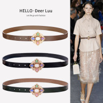 Belt / belt / chain Double skin leather Black, dark green, Dark Khaki female belt Versatile Single loop Youth, youth, middle age Smooth button Glossy surface Glossy surface 2.3cm alloy alone