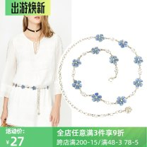 Belt / belt / chain Metal Blue flowers, pink flowers, white flowers (gold chain), gray flowers female Waist chain Versatile Single loop Youth, youth, middle age a hook Flower design 2.4cm alloy Water drill, chain, flower