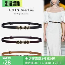 Belt / belt / chain Double skin leather Black, brown, caramel female belt grace Single loop Youth, youth, middle age a hook Flower design Glossy surface 1.5cm alloy Bare body, heavy line decoration